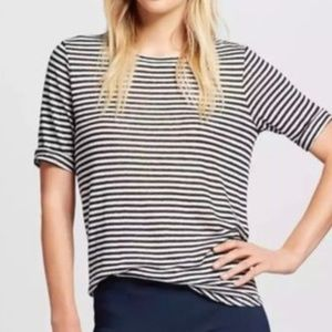 Who What Wear Shimmer Striped Linen Blend Top